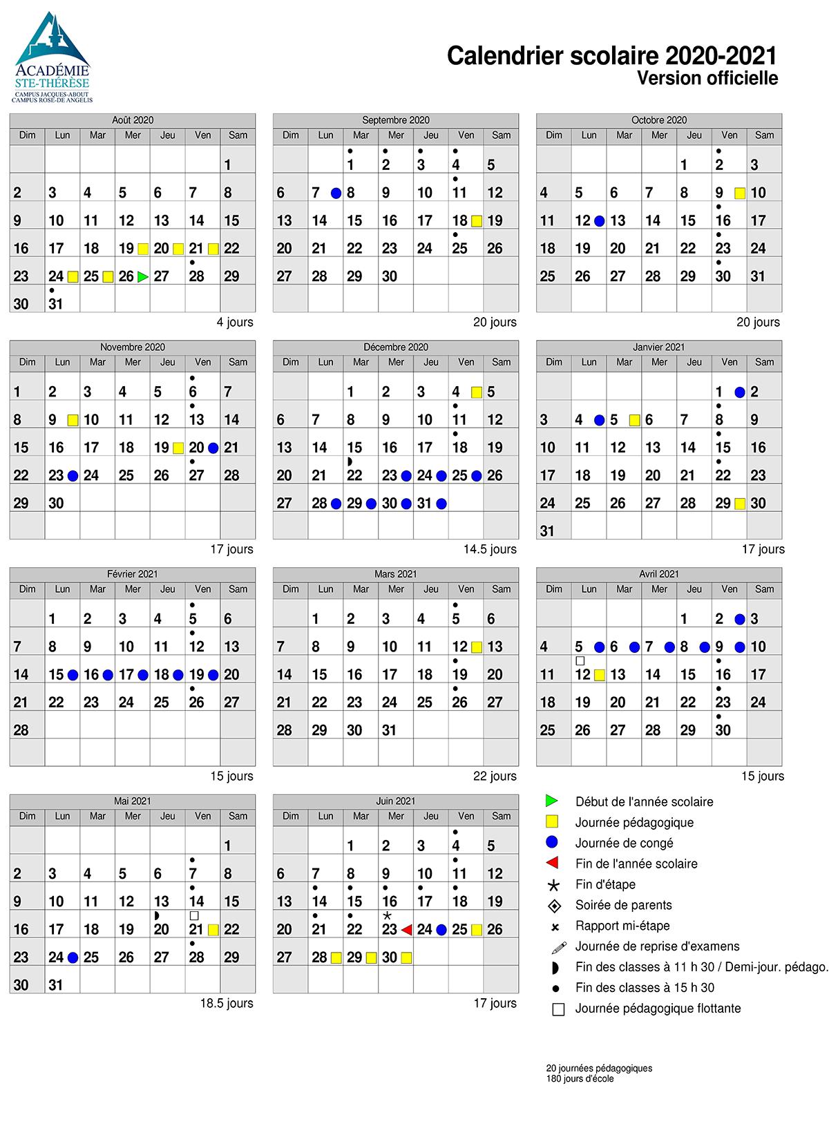 Le calendrier scolaire des campus à l'Académie Ste Thérèse